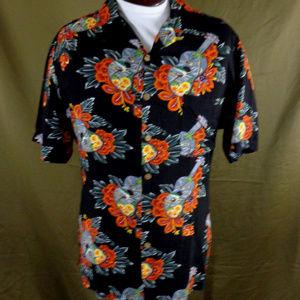 Vintage Kennington LTD Black Uke Hawaiian Shirt  L